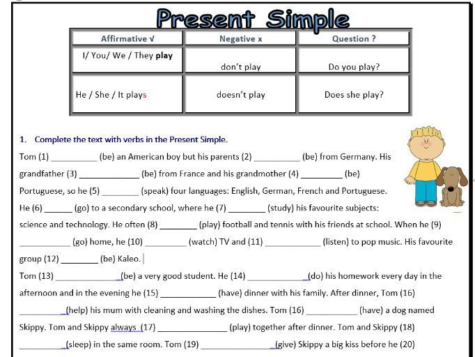 Present Simple Worksheet - ESL - Affirmative/Negative ...