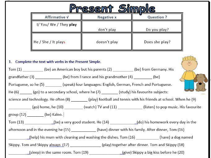 Present Simple Worksheet Esl Affirmativenegativeinterrogative