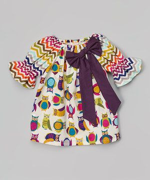 This Purple Chevron Owl Peasant Dress - Infant & Toddler by  is perfect! #zulilyfinds
