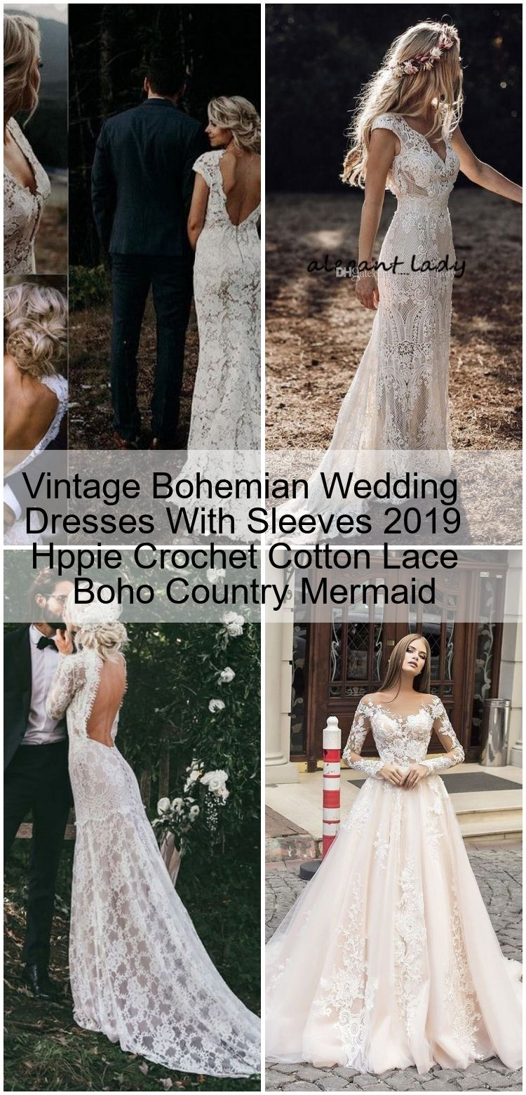 Vintage Bohemian Wedding Dresses With Sleeves 16 Hppie Crochet