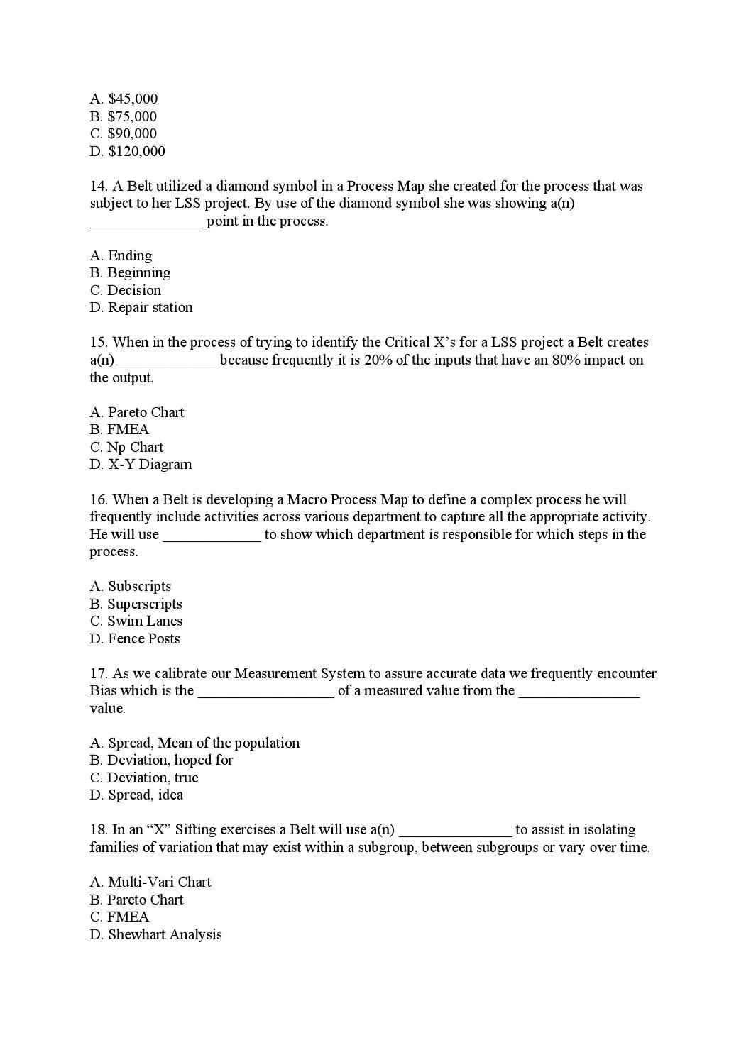 Issuu Lean Six Sigma Green Belt Test Exam 70 Q A By Robert Wiering