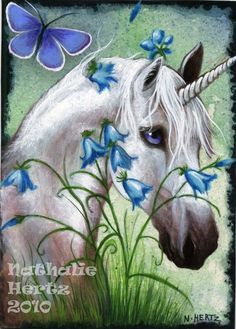 ACEO Limited Edition PRINT Hand Embellished Horse Unicorn Flower Butterfly Fantasy ART