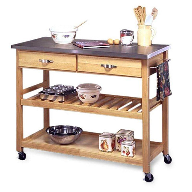stainless steel top kitchen cart utility table with locking wheels ...