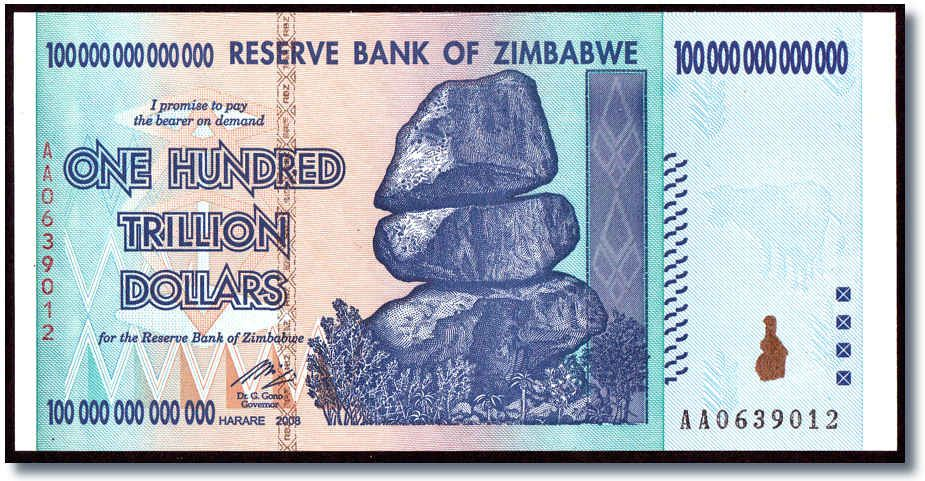 Largest Denomination Note Ever Zimbabwe Trillion Dollar Bill