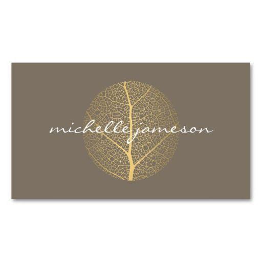 Elegant Gold Leaf Logo On Taupe Business Card Zazzle Com