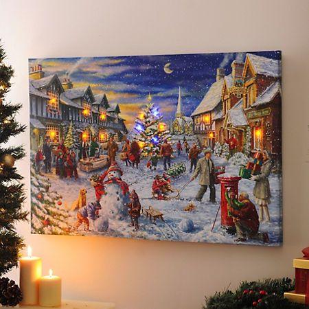 Christmas Eve Led Canvas Art Print Kirklands Christmas Arts And Crafts Canvas Light Art Christmas Crafts Decorations