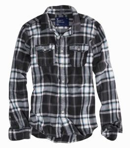 American eagle men 39 s black plaid flannel shirt xl for my for Mens xl flannel shirts