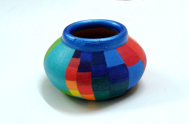 earthen pot painting designs painted earthen pot  Pottery painting designs, Vase crafts