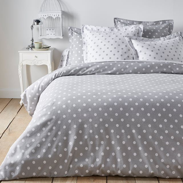 features duvet cover back printed with white polka dots on a coloured background front printed. Black Bedroom Furniture Sets. Home Design Ideas