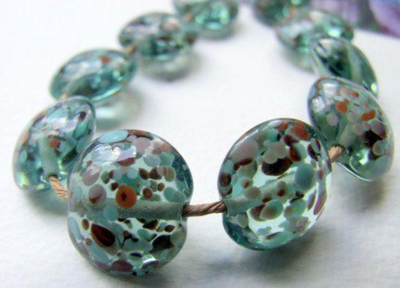 Rockpool    Lampwork lentil beads  Made to Order  by Pandanimal, £25.00