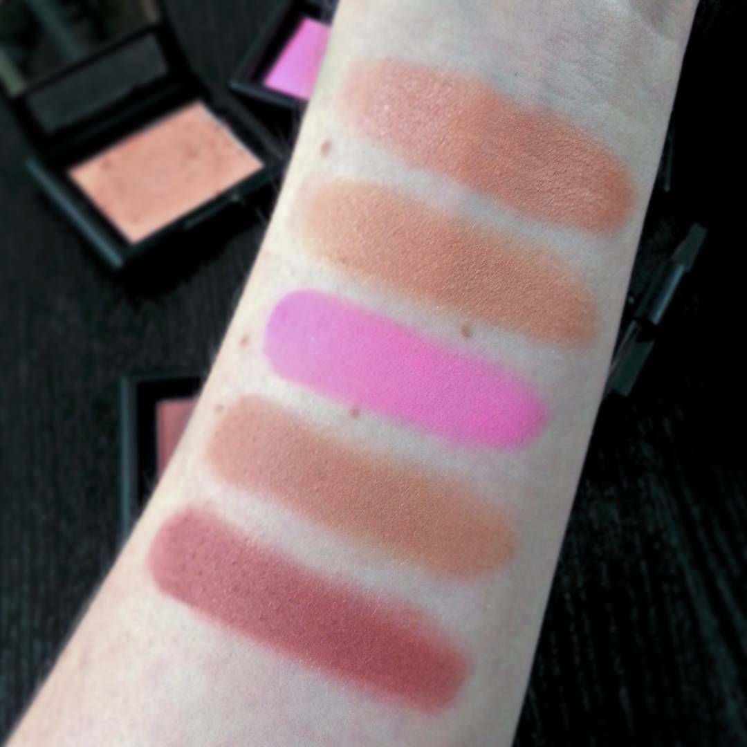 Here are some swatches of the ELF studio blushes that I have! Top to ...