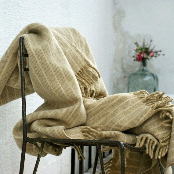 Fallow Cream Striped Wool Blanket Throws For Sofa Throw