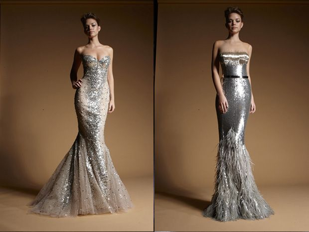 The dress on the left is the PERFECT shape for my future wedding dress. *sigh Zuhair Murad
