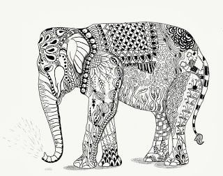 coloriage anti stress éléphant