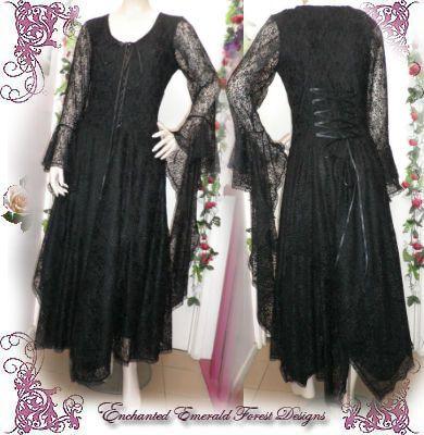 Stevie Nicks Style Black Lace Gothic Wedding Dress
