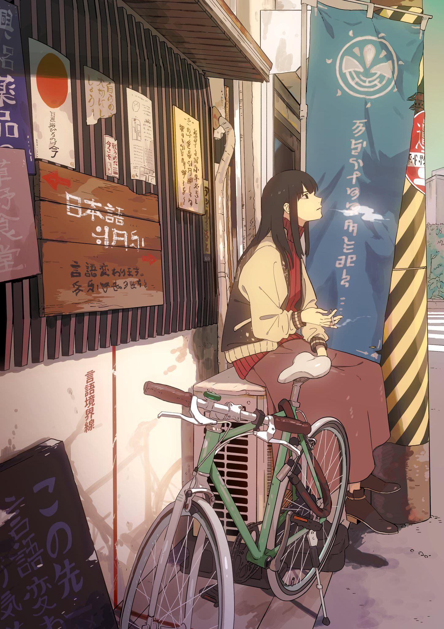 Smoke break [Original] Smoke art, Anime drawings