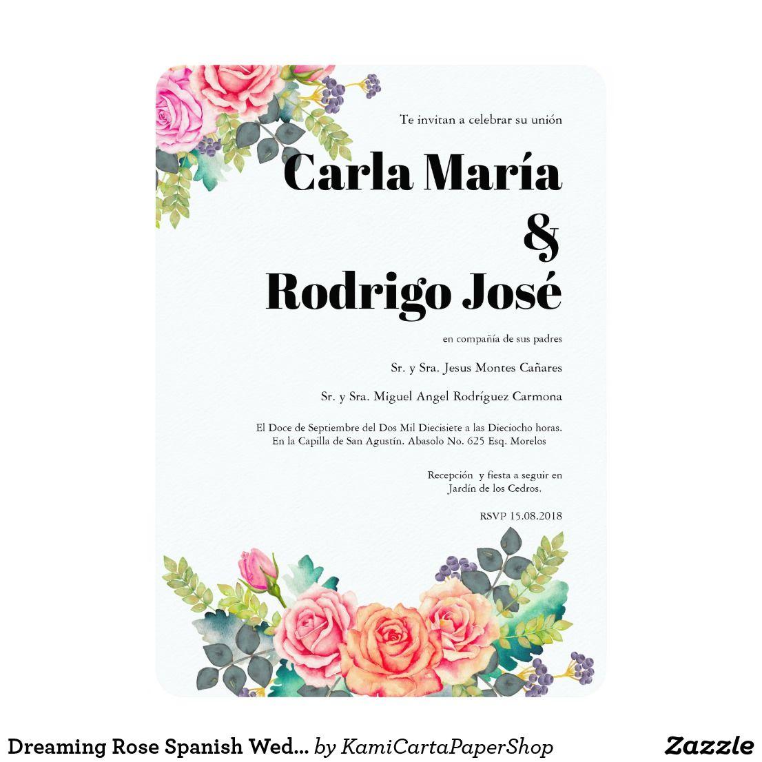 Dreaming rose spanish wedding invitation