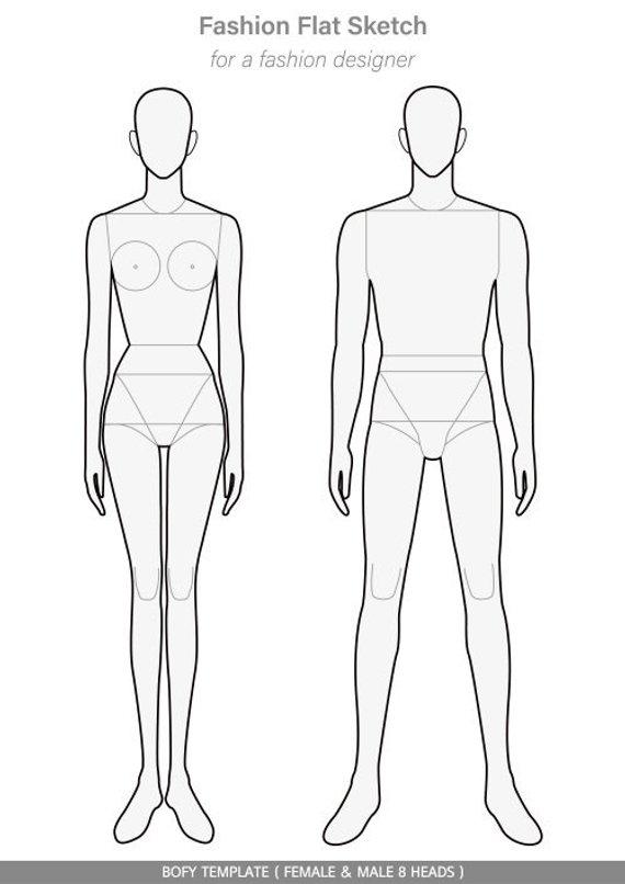 Body Template Fashion Flat Technical Drawing Vector Template Fashion Illustration Template Body Template Fashion Drawing Sketches
