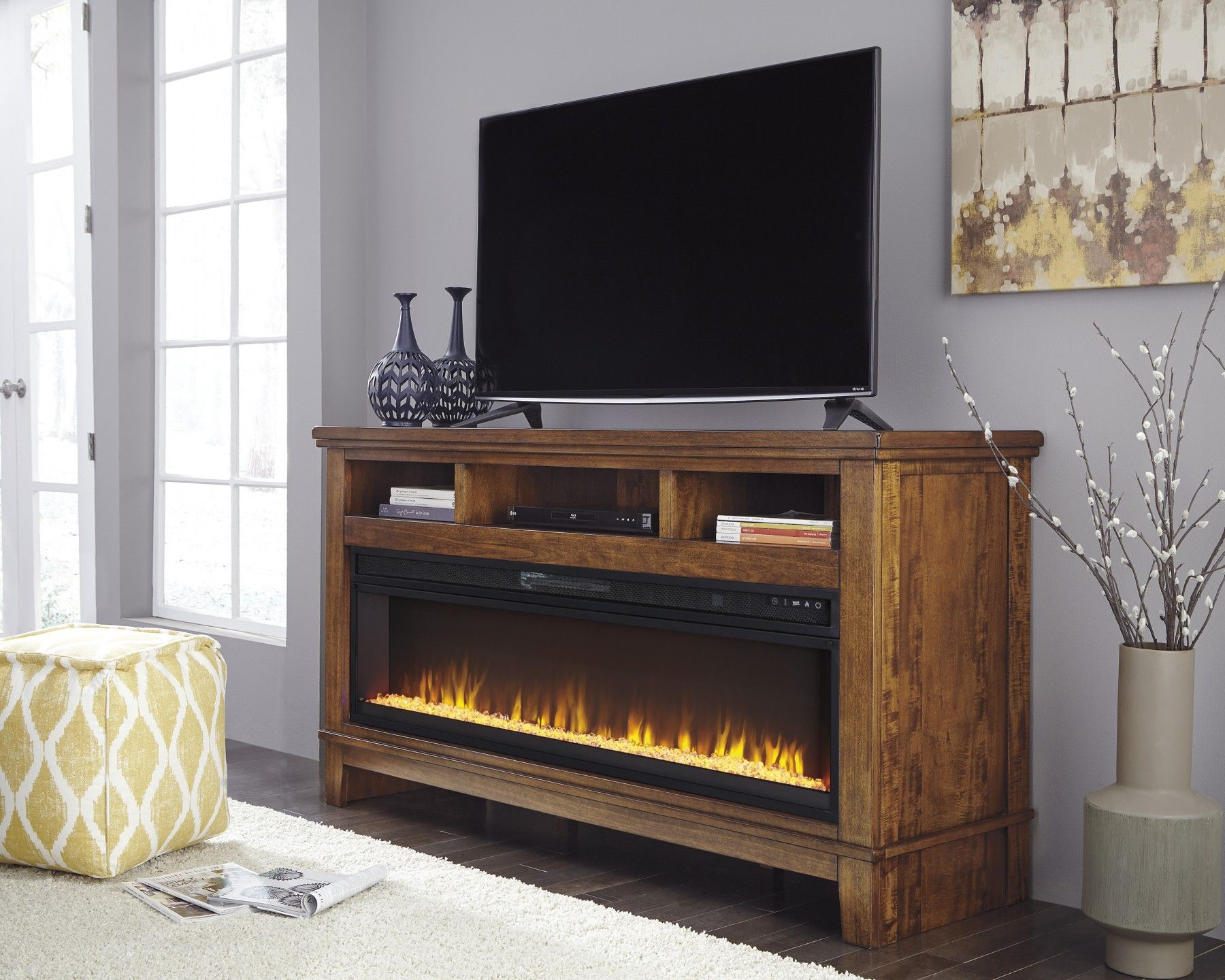 Ralene Medium Brown Xl Tv Stand With Fireplace Fireplace