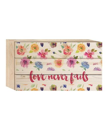 Look at this #zulilyfind! 'Love Never Fails' Lath Box Sign #zulilyfinds
