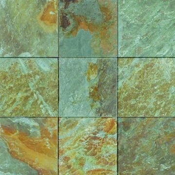 Chinese Local Natural Green Rusty Slate 300x300mm Floor Tiles Sawn