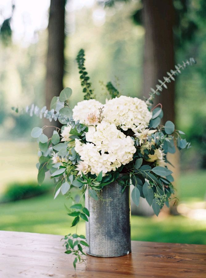 Rustic Greenery Centerpieces With Baby S Breath Google Search Hydrangea Centerpiece Wedding Eucalyptus Wedding Centerpiece White Hydrangea Wedding
