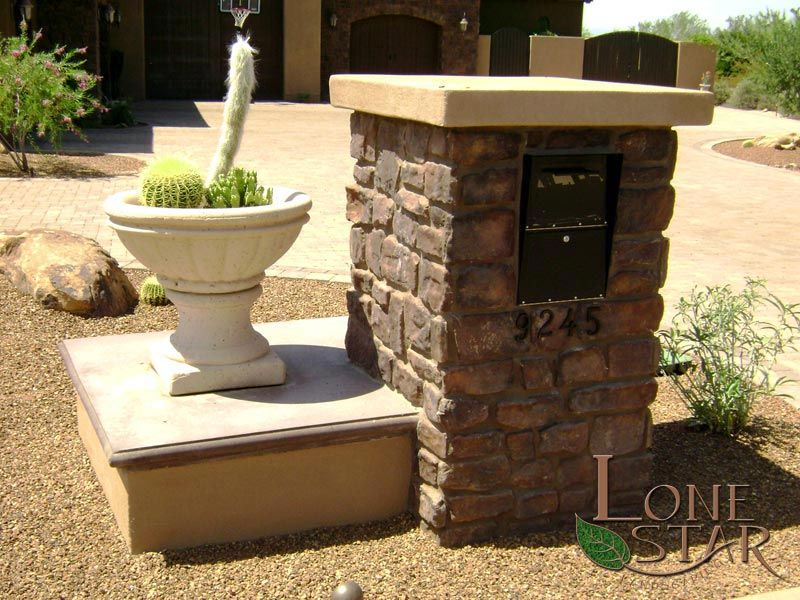 Hardscape Mailbox With Stone Veneer And Cast In Place Concrete Top.    Www.lonestaraz