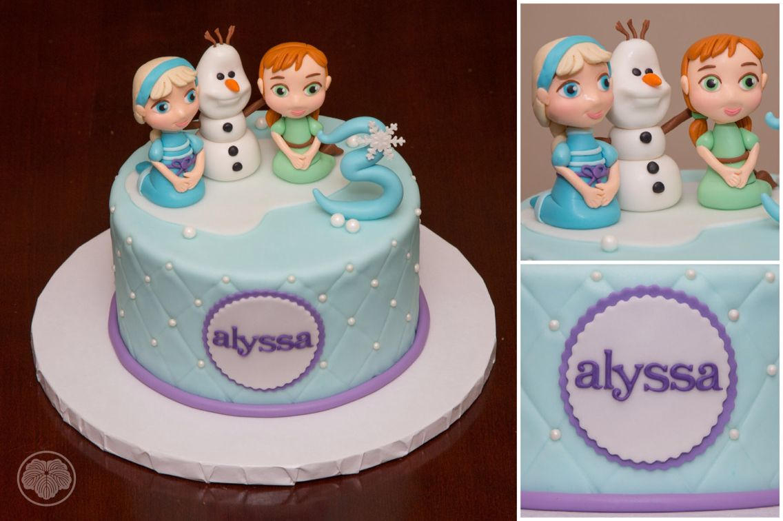 Frozen cake with young Elsa and Anna and Olaf Custom Cakes