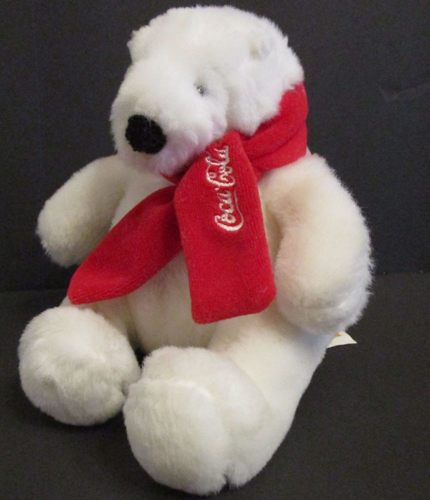 Coca Cola Plush White Polar Bear Stuffed Animal Toy Small 6 Sitting
