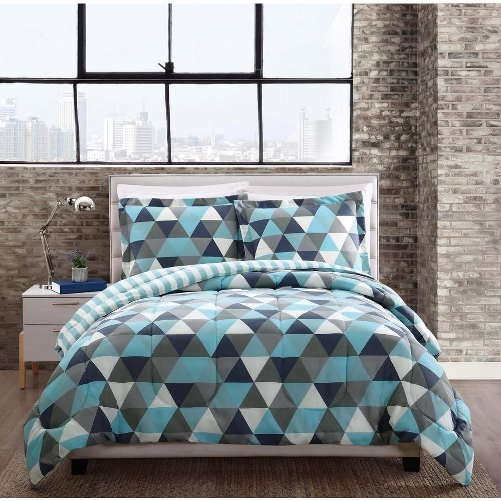 Style 212 Madison Triangles Multi-Color Twin Comforter Set ...