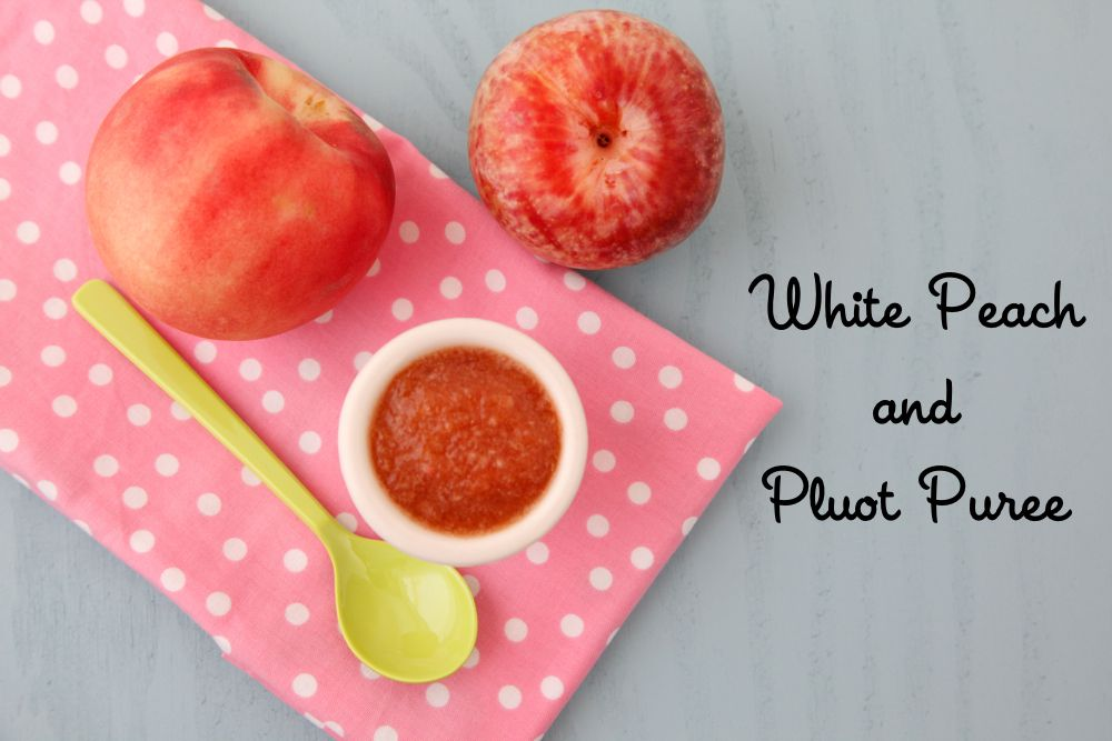 White Peach and Pluot Puree Baby Food from Weelicious