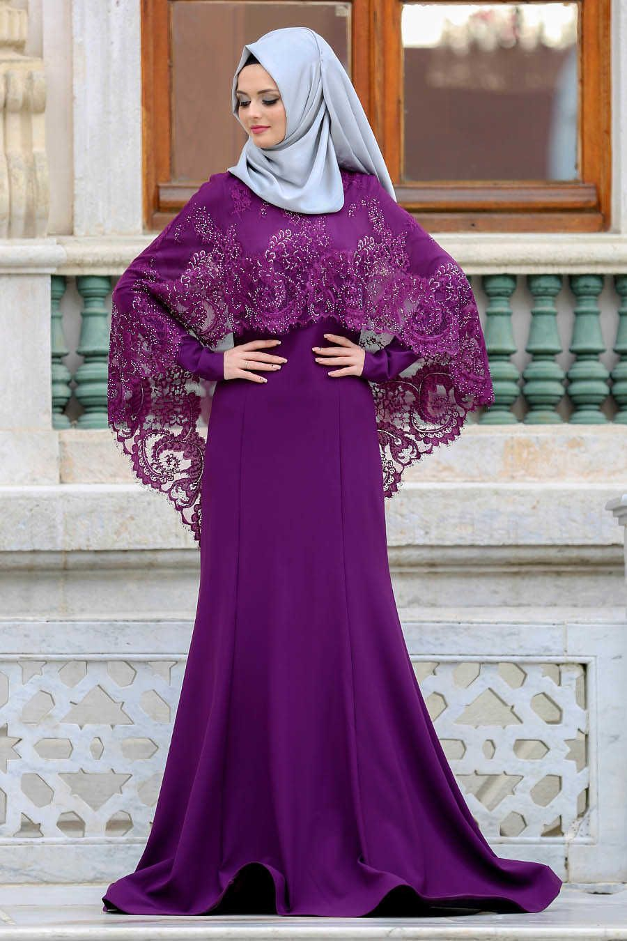 Neva Style - Purple Hijab Evening Dress 43910MOR  3d300330cc05