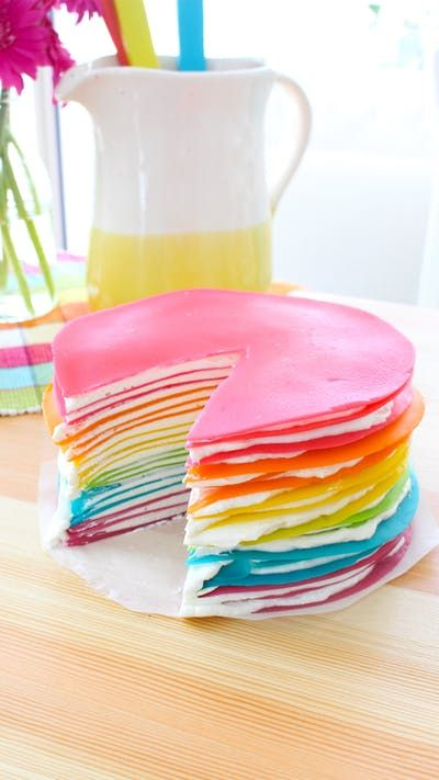 Rainbow Crepe Cake Recipe Purple Food Cake Ingredients And Vanilla
