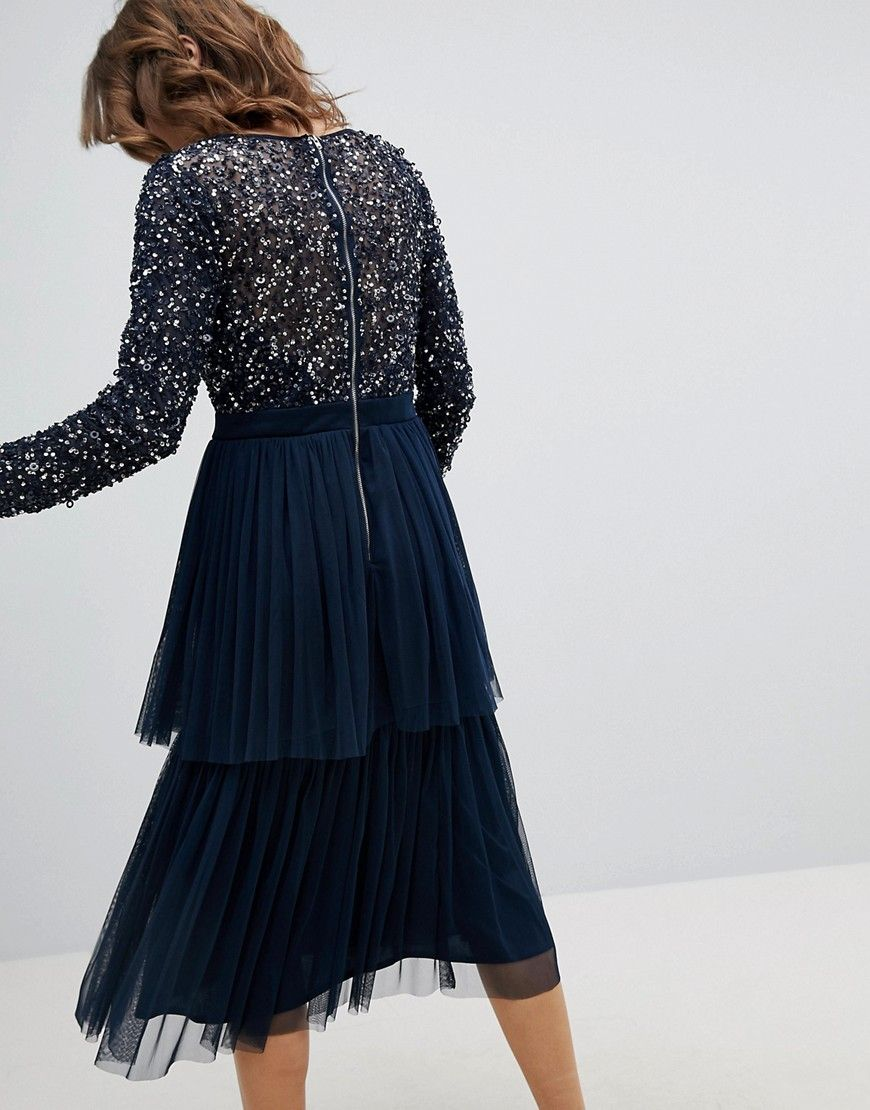 b31d8947cca4e Maya Long Sleeve Sequin Top Midi Dress With Tiered Tulle Skirt - Navy