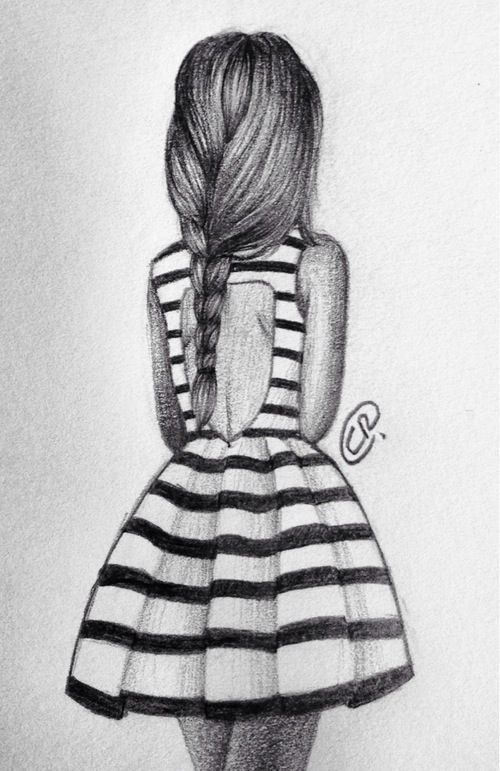 Little Girl Back Pose Sketch Hand Sketch Pinterest