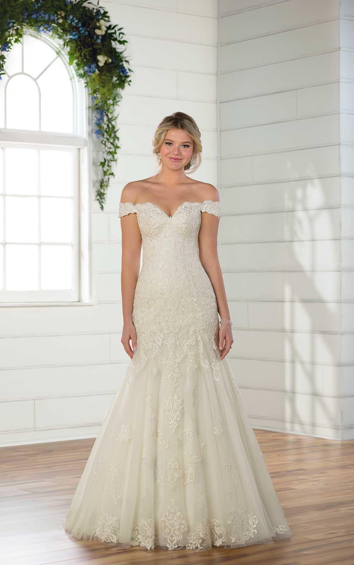 Vintage offtheshoulder wedding gown dream wedding pinterest