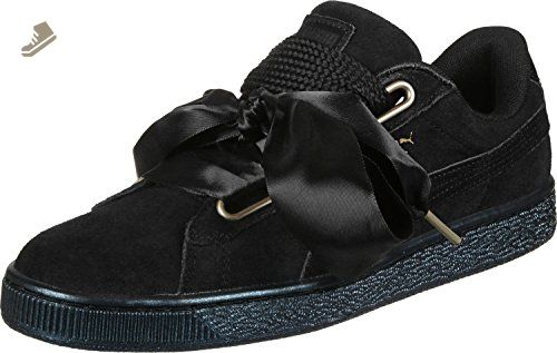 719e82a5c7d19 Puma Suede Heart Satin Womens Sneakers Black - Puma sneakers for ...