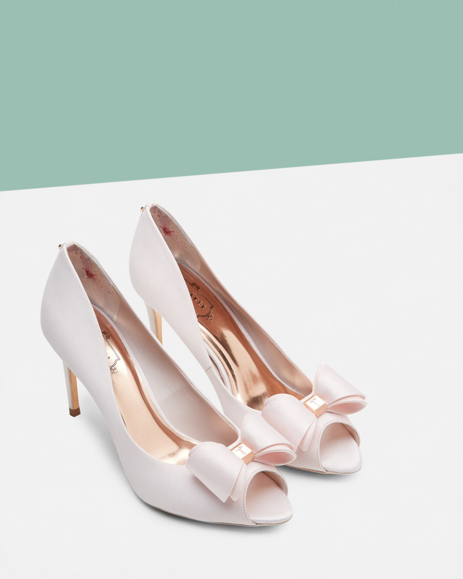 Bow detail peep-toe courts - Pink