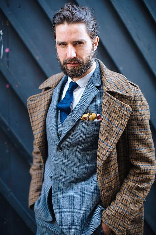 Brown Check Wool Coat blue plaid suit gold pocket square | Dapper ...