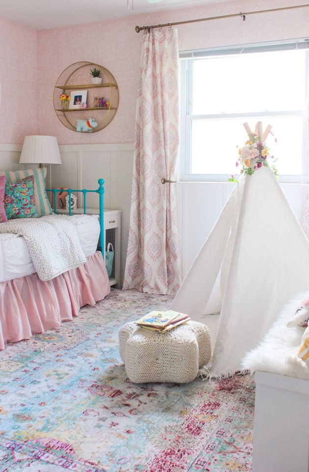 My Daughter's Room Refresh is part of Girls room rugs - How I gave my daughter's room a refresh by switching out the rug, adding curtains, new bedding, and adding a storage bench and teepee
