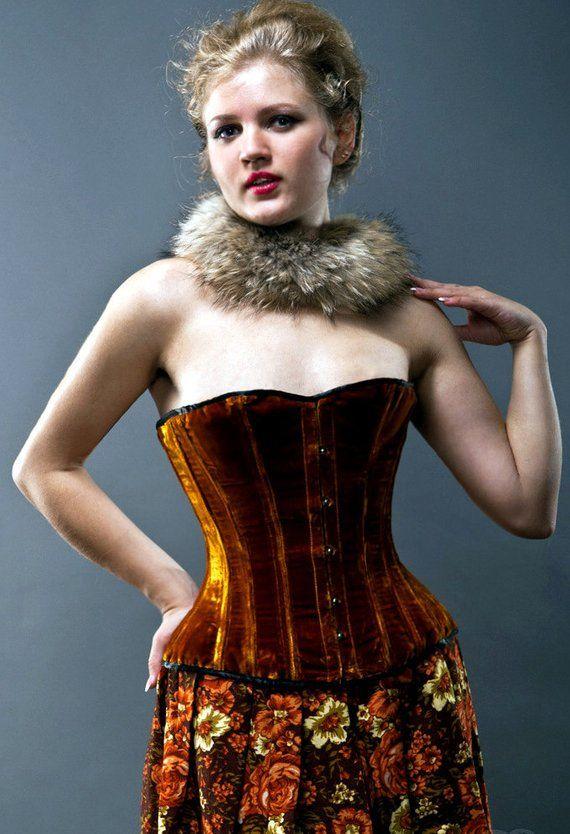598a05cf44 Velvet halfbust steel-boned authentic heavy corset