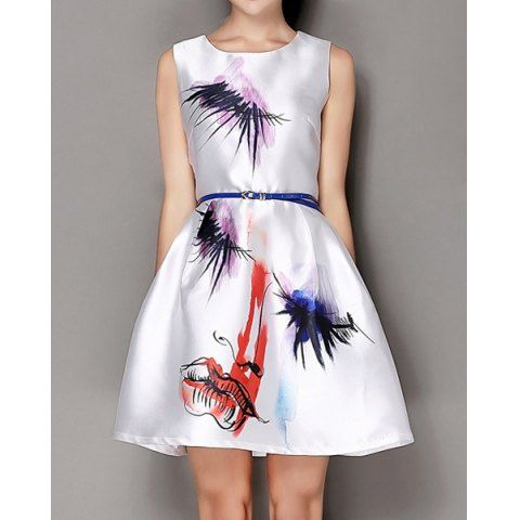 Vintage Scoop Neck Sleeveless Printed Dress For Women