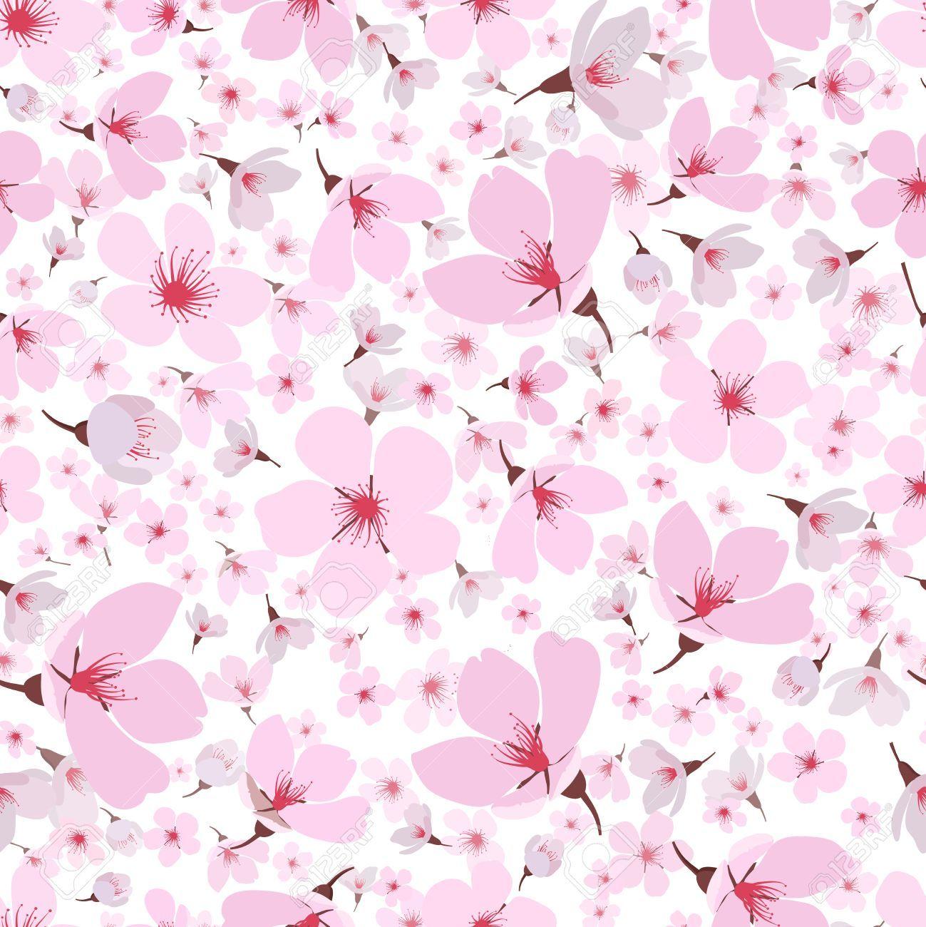 Seamless Background Pattern Of Pink Sakura Blossom Or Japanese Background Pattern Sakura Blossom Wallpaper Bunga Sakura