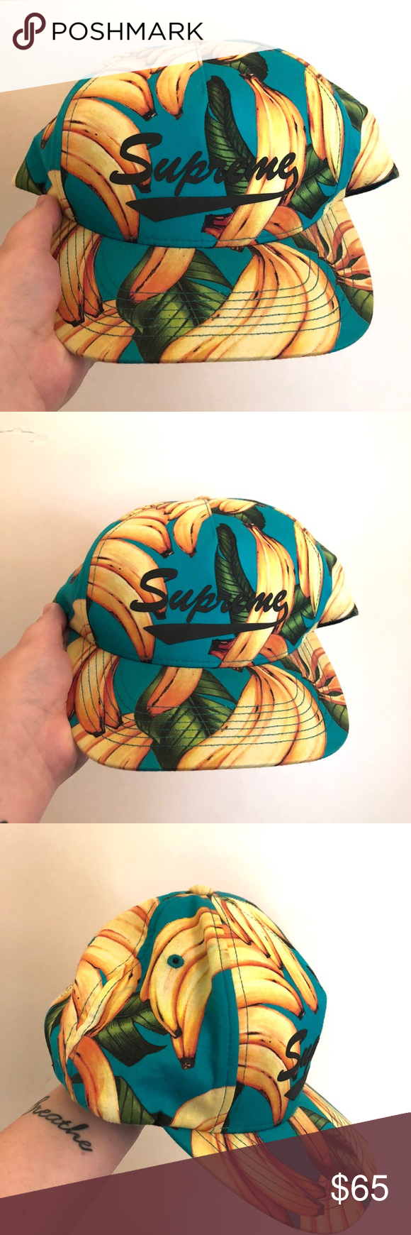 Supreme Banana Hat ✨can be worn by both Men and Women! ✨cute hat for the  summer and spring time ✨brim to back snap  roughly 10.5 inches ✨cap itself   ... f361c9082ad