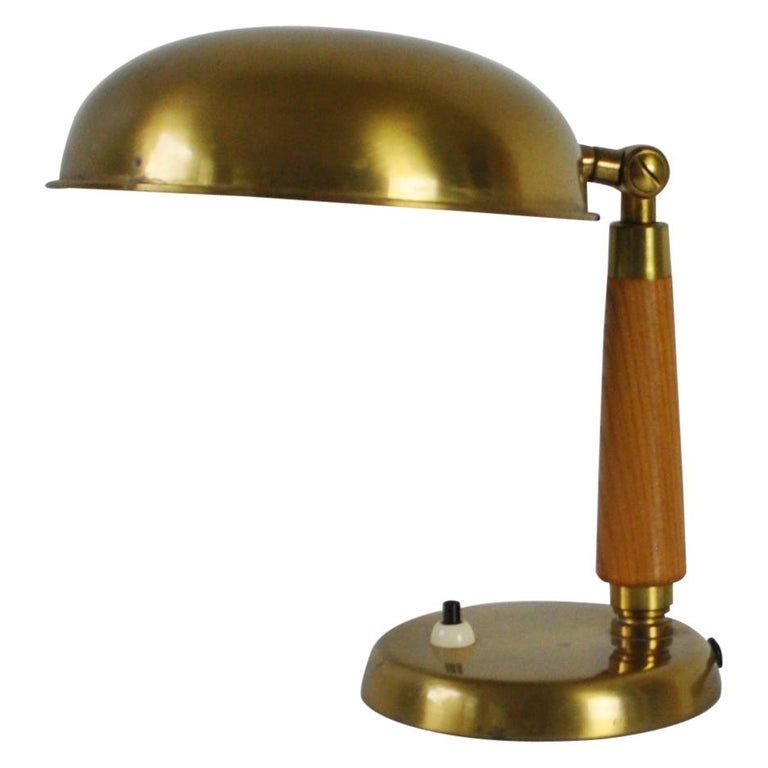 Scandinavian Brass And Wood Table Lamp 1930s 1940s Table Lamp Table Lamp Wood Lamp