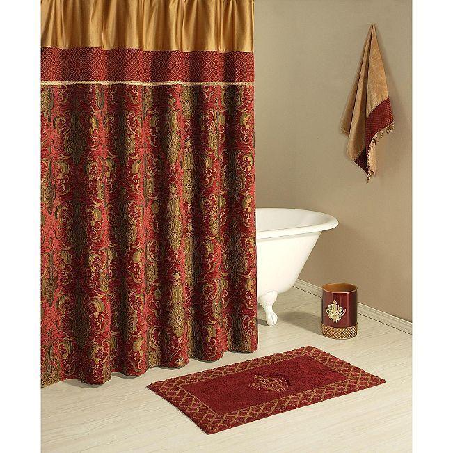 Austin Horn Montecito Fabric Shower Curtain New Red Shower