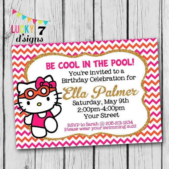Hello Kitty SWIMMING POOL PARTY Invitation Chevron By