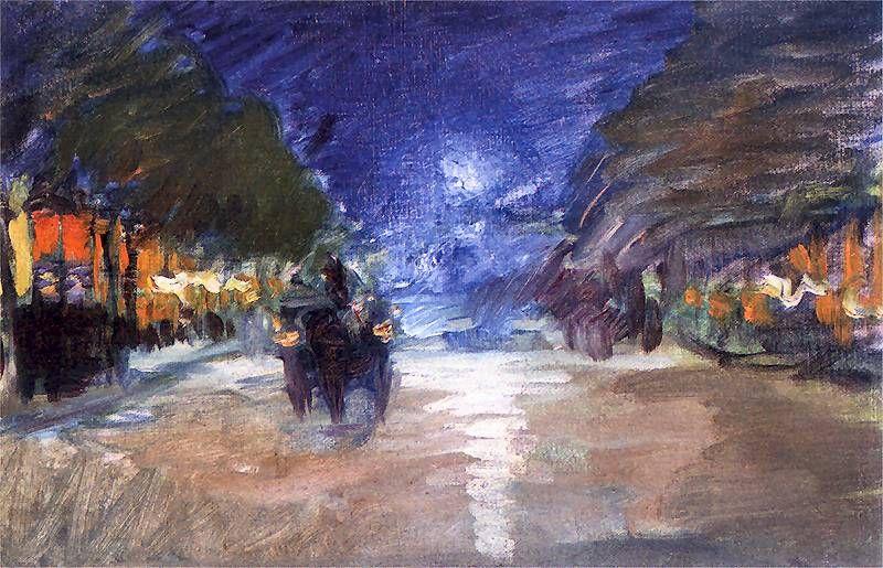 Ludwik laveaux ~ Motyw z Paryża (Ulica paryska w nocy; Ulica paryska o zmierzchu; Ulica paryska nocą; Rue du 4 Septembre w nocy) 1892-1893. Olej na płótnie. 26 x 40 cm. Muzeum Narodowe, Kraków.