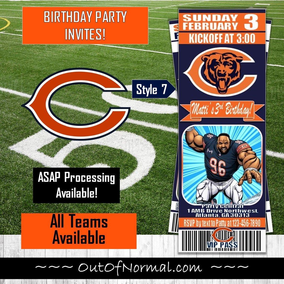 Chicago Bears Nfl Football Ticket Style Comic Invite Bear