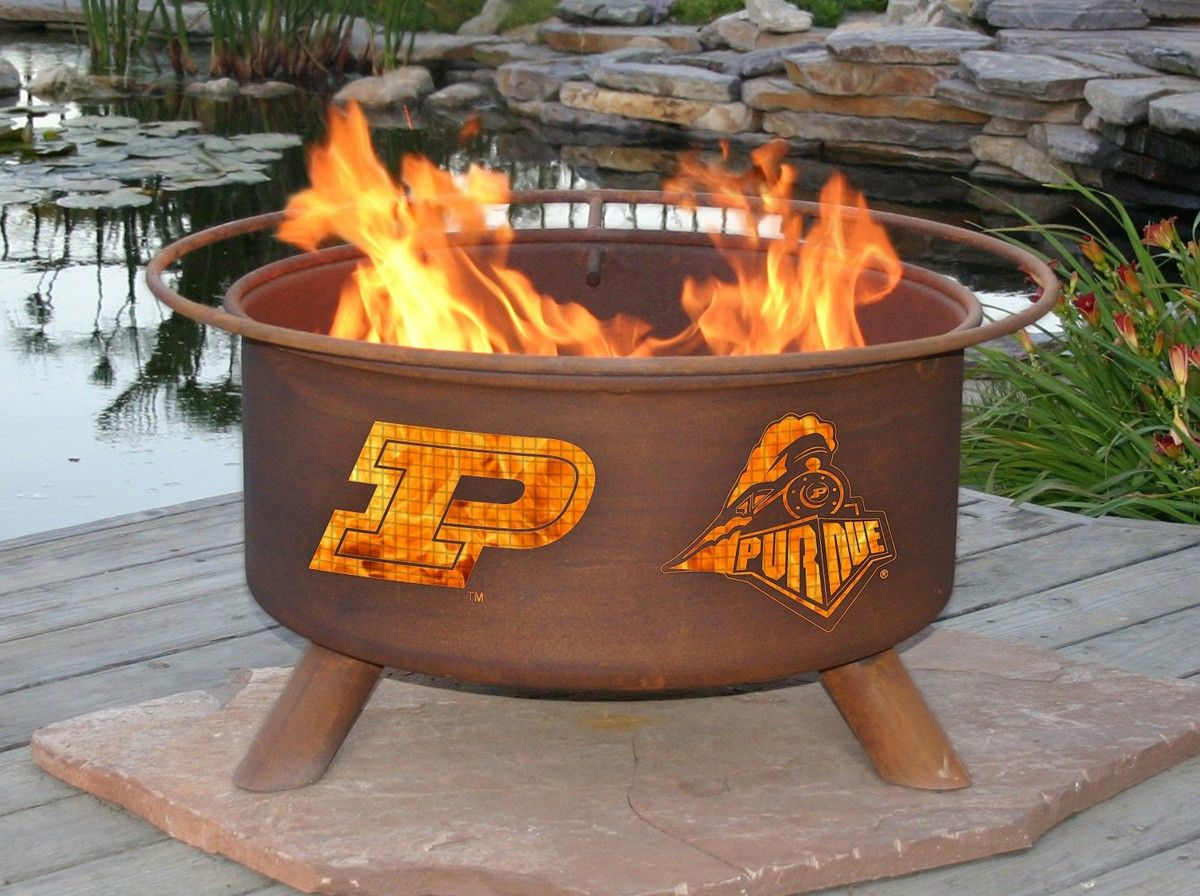 Purdue Boilermakers Portable Fire Pit Bbq Grill Set Wood